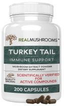 Real Mushrooms Turkey Tail Mushroom Supplements for Immune Support, Wellness, Vitality | Vegan, Non-GMO Turkey Tail Capsules (200 Capsules / 100 Day Supply)