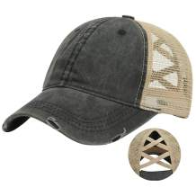DOANNOTIUM Ponytail Baseball Cap Retro Washed Cotton Visor Dad Hat Adjustable Trucker Ponycaps