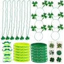 Jblcc St. Patrick's Day Accessories Set Party Supplies Favors with Shamrock Headband, Beads Necklace, Rubber Bracelets, Temporary Tattoos, Green Mustaches for Irish Party Decorations