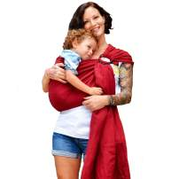 Nalakai Luxury Ring Sling Baby Carrier – Extra-Soft Bamboo and Linen Fabric - Lightweight wrap - for Newborns, Infants and Toddlers - Perfect Baby Shower Gift - Nursing Cover (Flor Red)