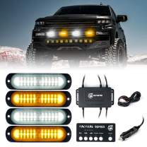 [Upgraded] Xprite Amber/White LED Surface Mount Strobe Lights Kit, Grill Grille Side Marker Light Flashing Emergency Warning Light Assemblies w/Control Box for Trucks Vehicles ATV RV Cars Van - 4PCS