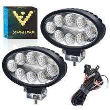 24W Oval LED Work Light 5 inch For Tractor Bulldozer Golf Cart Mower ATV 6000K Bright White Flood Light (2 Pack) (2 Lights + Harness)