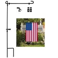 Garden Flag Stand, Premium Garden Flag Pole Holder Metal Powder-Coated Weather-Proof Paint with one Tiger Clip and two Spring Stoppers without flag
