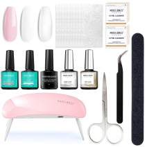 Fiberglass Nail Kit for Nail Art Quick Extension Gel, All-in-One Kit With Instruction Manual, LED Lamp Included, Fiberglass Silk, Builder Gel, Base and Top Coat, Tweezer, Nail File Buffer, Cleanser
