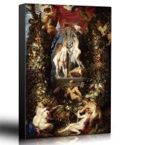 wall26 - Oil Painting of Nature Adorning The Three Graces by Peter Paul Rubens - Baroque Style - Angels, Catholic, Devil - Canvas Art Home Decor - 32x48 inches