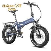 Eahora Fat Tire Folding Electric Bicycle 500W Urban Electric Bikes for Adults Cruise Control E-Bikes with Removable 48V Lithium-ion Battery, Shimano 7-Speed Gear Shifts, X5 PRO Blue