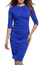 Hotouch Women's Midi Pencil Dresses for Work 3/4 Sleeve Wrapped Ruched Sheath Dress