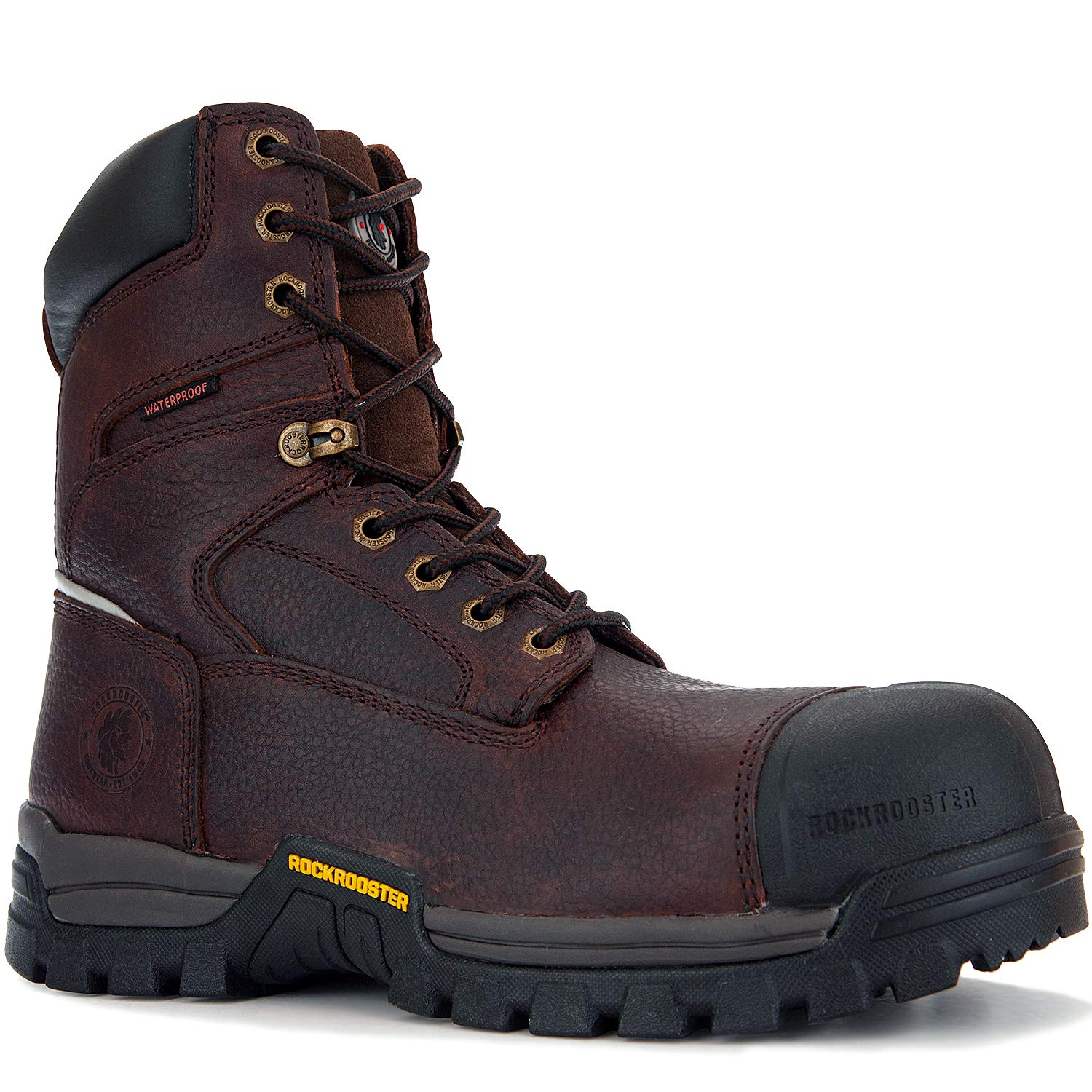 ROCKROOSTER Men's Work Boots,Composite Toe,8 Inch Waterproof,Slip Resistant Safety Oiled Leather Shoes,Breathable,Anti-Puncture,Quick Dry,Anti-Fatigue,AT871