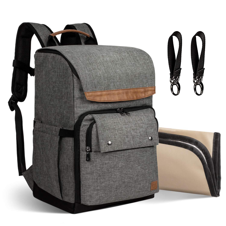 TEBEL Diaper Bag Baby Backpack Multi-Function with Stroller Strap, Polka Dot (Gray)