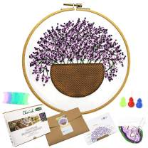 All Range of Embroidery Starter Kits, Stamped Cloth with Floral Pattern,1pc Bamboo Embroidery Hoop,Color Threads Tools Kit,2pc Needles,1pc Instruction Manual (Floral Pattern) (511170D)