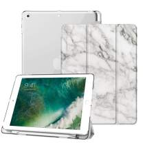 Fintie Case with Built-in Pencil Holder for iPad 9.7 Inch 2018 - Lightweight Slim Shell Cover with Translucent Frosted Back Protector Supports Auto Wake/Sleep for iPad 6th Generation, Marble White