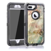 MAXCURY [Texture Defender Series] Case for iPhone 8 Plus, Premium Hybrid Protective Clear Hard PC + Soft TPU with Marble Pattern Case Shock Absorbing Cute Cover Shell for iPhone 7 Plus/6 Plus/6s Plus.