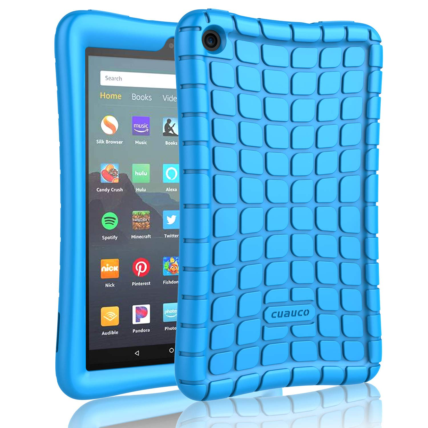 """Cuauco Silicone Case for All-New Amazon Fire 7 Tablet (9th Generation, 2019 Release)-[Kids Friendly] Light Weight [Anti Slip] Shock Proof Protective Cover for All-New Fire 7 Tablet (7"""" Display)(Blue)"""