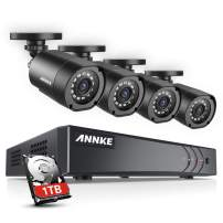 ANNKE 8Channel Security Camera System 1080P Lite H.264+ DVR with 1TB Surveillance HDD and (4) 720P Weatherproof Cameras with Build-in IR-cut filter, Smart Playback, Instant email alert with images