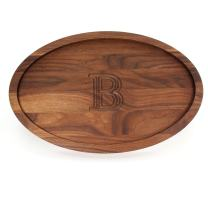 """BigWood Boards W420-B Carving Board, Oval Trencher with Juice Well, Large Monogrammed Cutting Board with Groove, Walnut Wood Serving Tray,""""B"""""""
