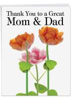 Beautiful 8.5 x 11 Inch Greeting Card w/ Envelope 'Thank You To A Great Mom and Dad' Potted Flower Plant, Orange and Pink Blooms, Family, Flowers, Personalized Message of Appreciation and Love J9105