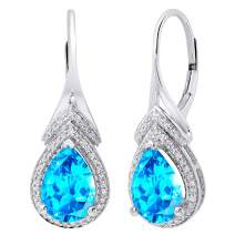 Dazzlingrock Collection 10K 10X7 MM Each Pear Gemstone & Round Diamond Ladies Teardrop Drop Earrings, White Gold