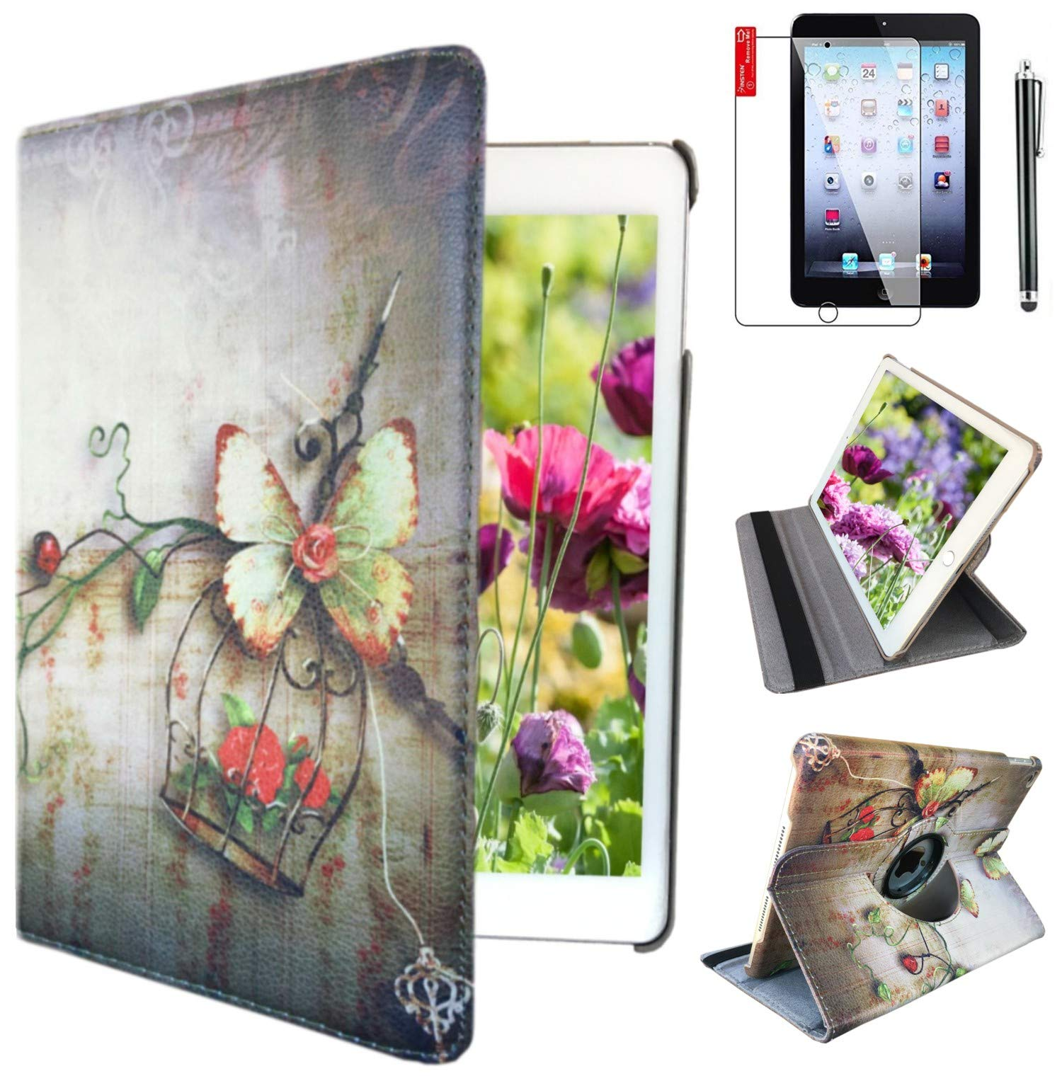 iPad Air 1st Generation case Compatible Models A1474 A1475A1476 MD785LL/A MD876LL/A 360 Rotating Stand with Wake Up/Sleep Function (Red Butterfly)