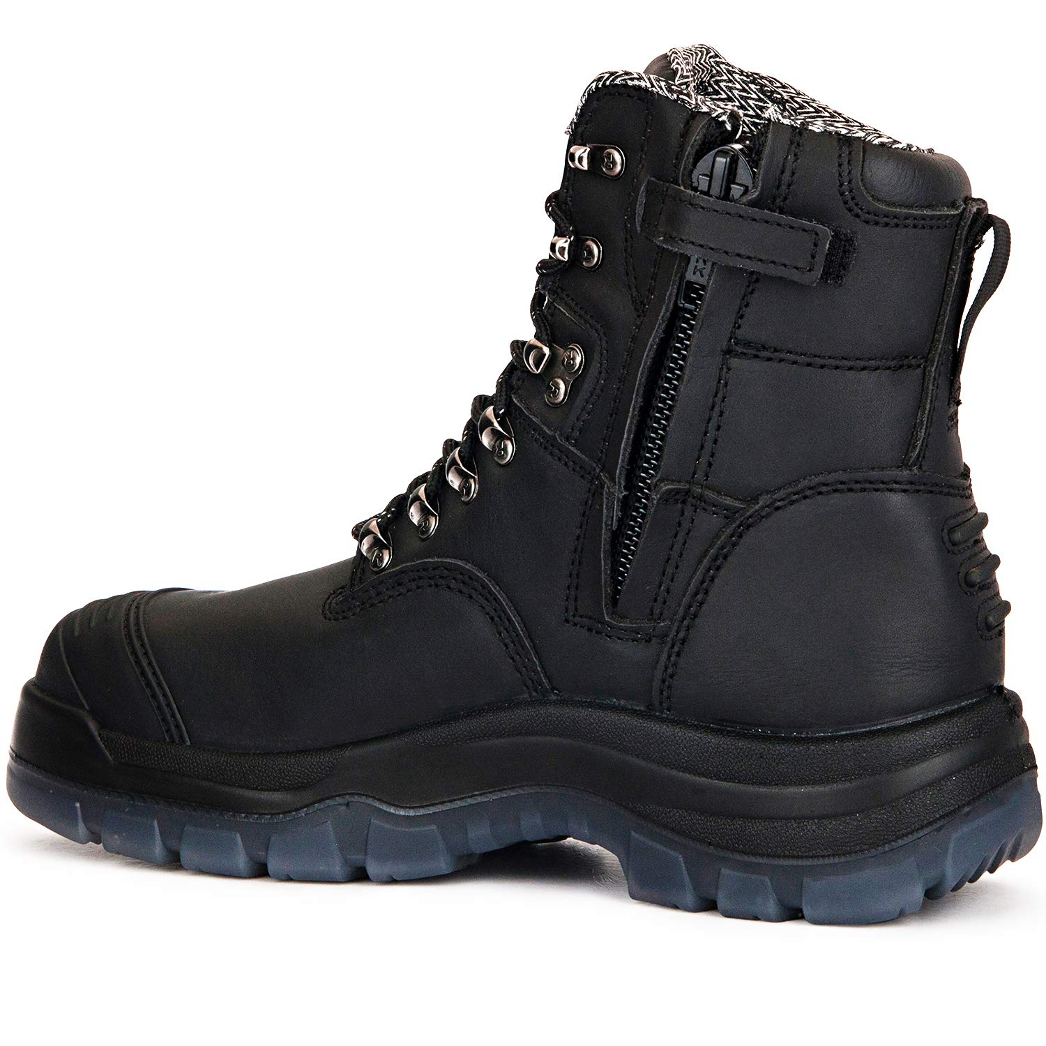 ROCKROOSTER Work Boots for Men,8 inch Steel Toe Slip On Leather Boots,Side Zipper,Static Control,Non-Slip,Breathable,Quick Dry,AK232Z AK245Z