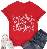 LUKYCILD Women Christmas Shirt Have Yourself A Merry Little Christmas Letter Print T-Shirt