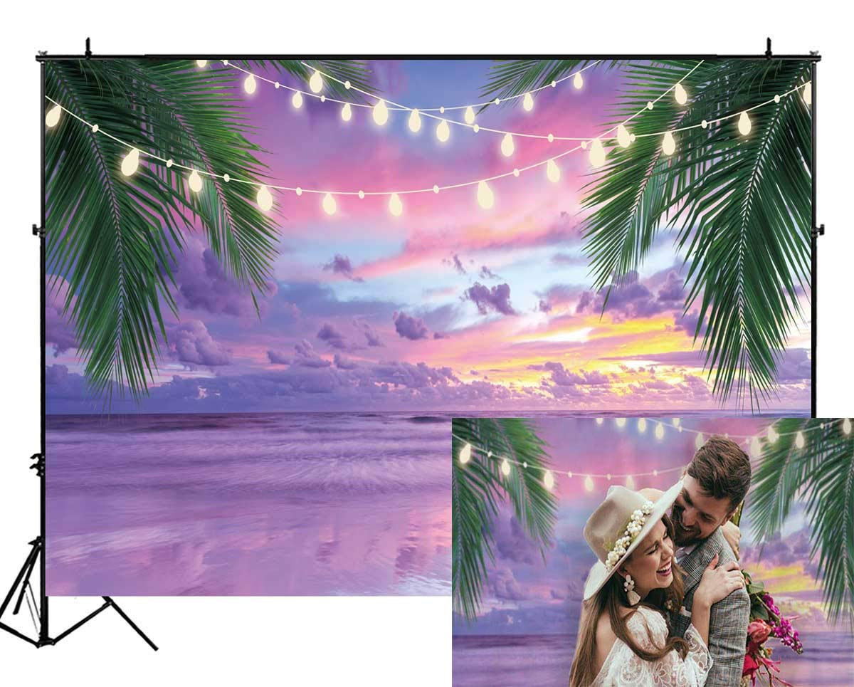 Funnytree 7X5FT Summer Tropical Purple Sea Beach Backdrop Photography Sunset Hawaiian Seaside Ocean Palm Lights Background for Wedding Birthday Party Banner Baby Shower Photo Studio Photobooth Props