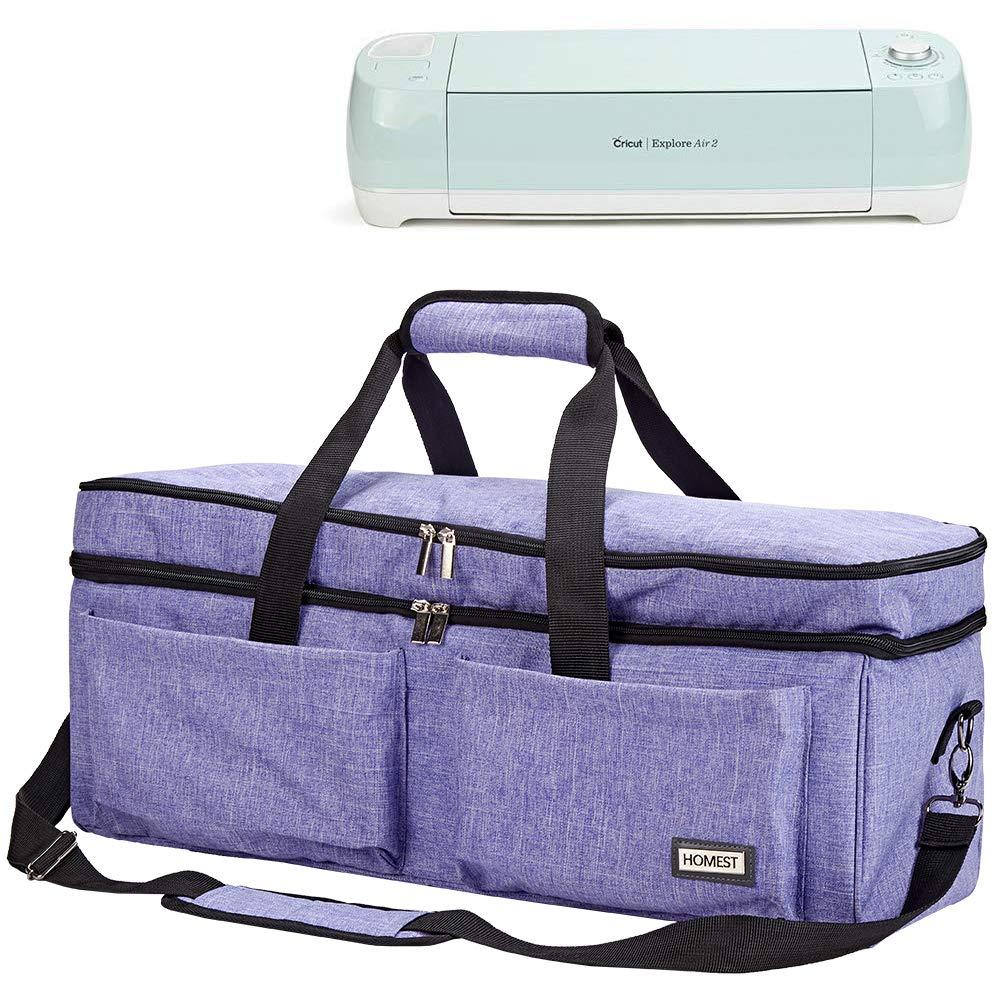 HOMEST 2 Compartments Carrying Case Compatible with Cricut Explore Air 2, Cricut Maker, Die Cut Machine Tote (Patent Design)