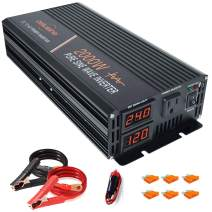 aeliussine Power Inverter 2000W Pure Sine Wave 24v dc to ac 120v Surge 4000 Watt Converter with LED Display for Car RV Boat Solar Power System.