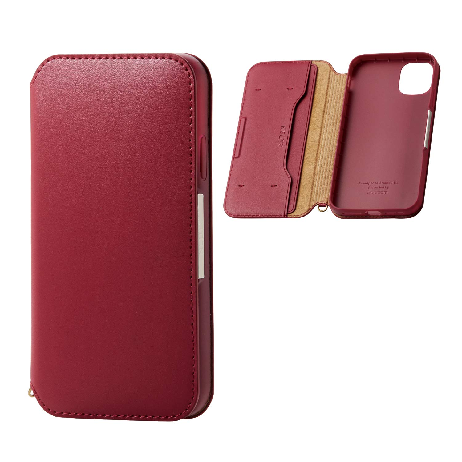 ELECOM-Japan Brand- Smartphone PU Leather Case Magnetic Type/Compatible with iPhone 11/ Red/PM-A19CPLFY2RD