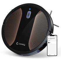 Coredy R580 Robot Vacuum Cleaner, Vacuuming, Sweeping and Mopping, Wi-Fi, App Controls, 2000pa Strong Suction,Virtual Boundary Supported, Slim, Quiet Robotic Cleaner Cleans Hard Floor to Carpet