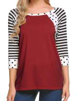 Zeagoo Women's Polka Dots Shirt Striped 3/4 Sleeve Casual Scoop Neck Tops Tee S-XXXL