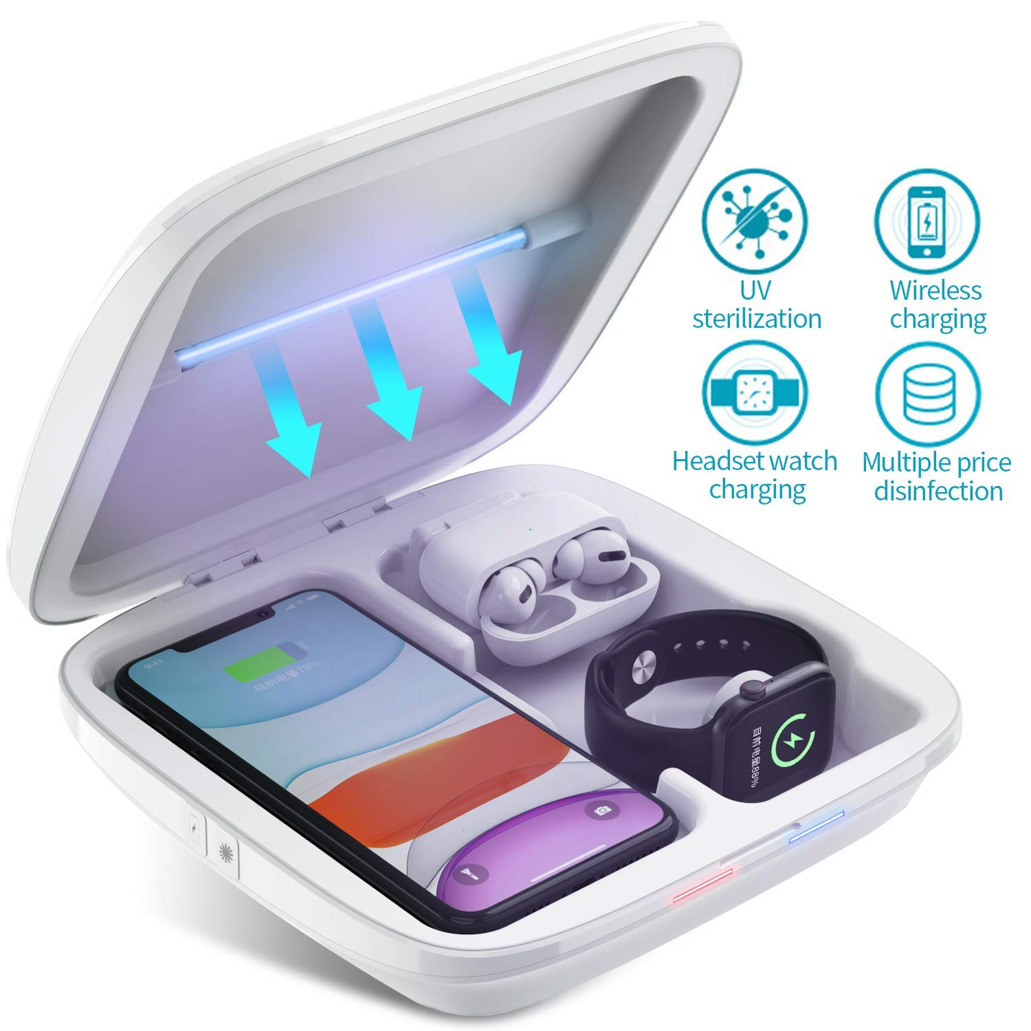 UV Cell Phone Sanitizer, Multi-Function Wireless Charger Portable UV Light Sanitizer 3-in-1 UV Cleaner Box for All Smart Phone, Headset, Jewelry, Watch, Glasses (4-White)