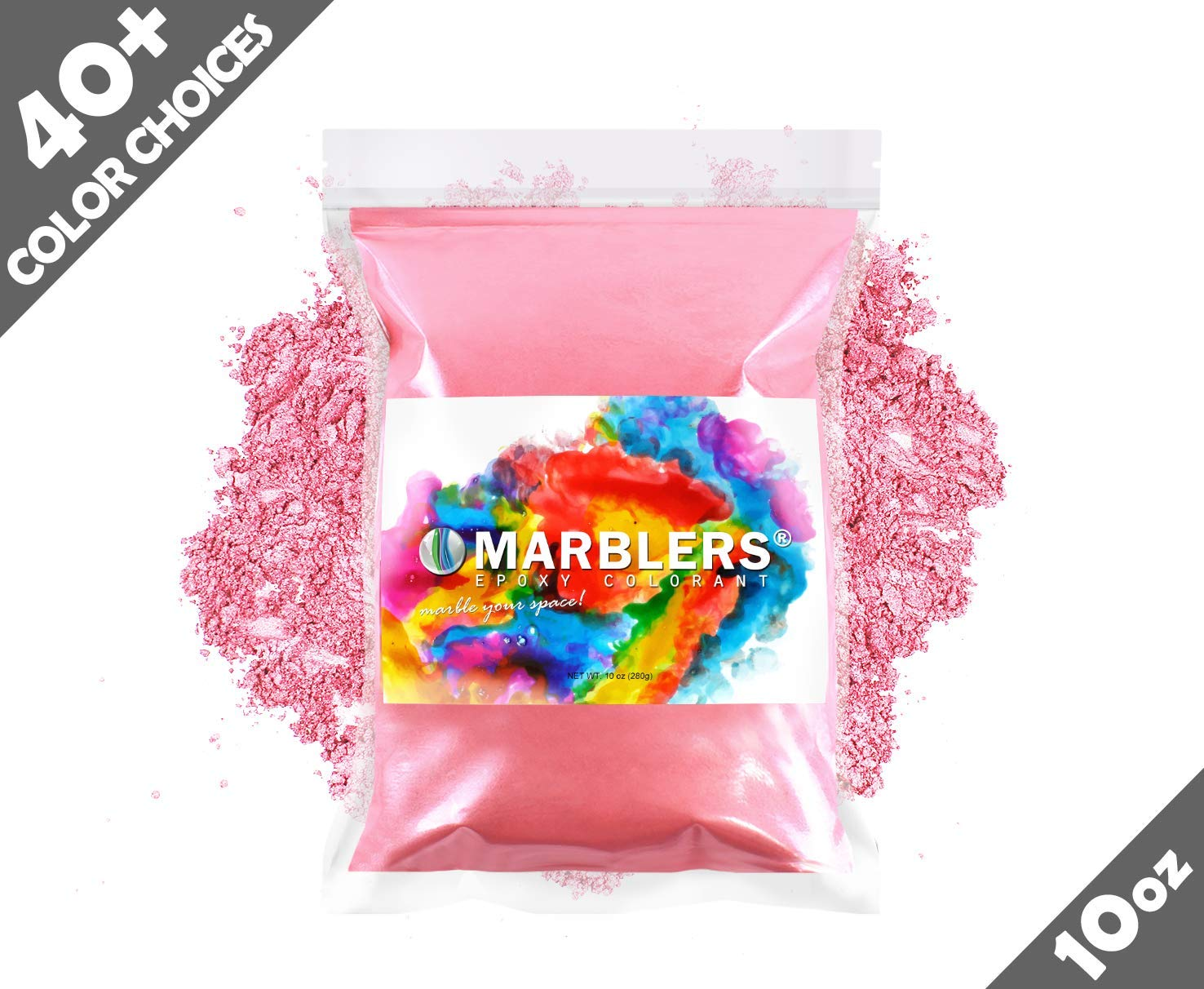 Marblers Powder Colorant 10oz (283g) [Pink]   Pearlescent Pigment   Tint   Pure Mica Powder for Resin   Dye   Non-Toxic   Great for Epoxy, Soap, Nail Polish, Cosmetics and Bath Bombs