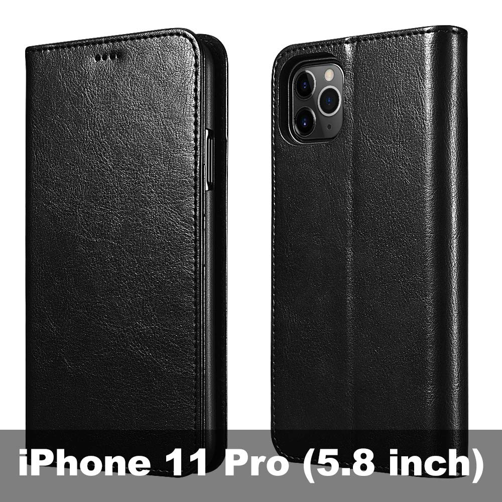 icarercase iPhone 11 Pro Wallet Case, Folio Flip MagneticPu Leather Cover with Kickstand and Credit Slots for iPhone 11 Pro 5.8 inch 2019 (Black)