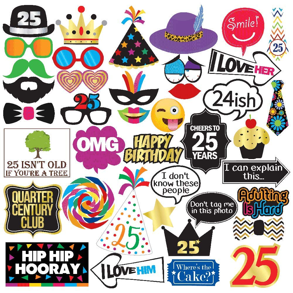 25th Birthday Photo Booth Party Props - 40 Pieces - Funny 25th Birthday Party Supplies, Decorations and Favors