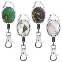 YoungRich 4PCS Retractable Badge Reel Retractable Keychain with Carabiner Belt Clip Key Ring 27 Inches Steel Wire Rope Shiny Marble Design House Work Keys Holder 24 kg Heavy Duty for ID Card Keys