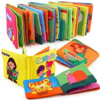 Here Fashion Premium Soft Book for Toddlers, Touch and Feel Crinkle Paper, Nontoxic Fabric Baby Cloth Books Early Education Toys, Cute Baby Shower Box, Touch and Feel- 6 Pack