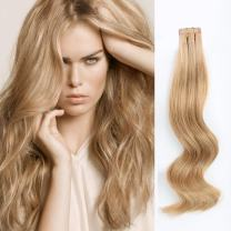 ABH AmazingBeauty Hair Semi-permanent Real Remi Remy Human Tape in Hair Extensions 50g 20pcs Skin Weft Tape Attached Invisible Seamless Reusable Dark Dirty Blonde Color 12 14 Inch