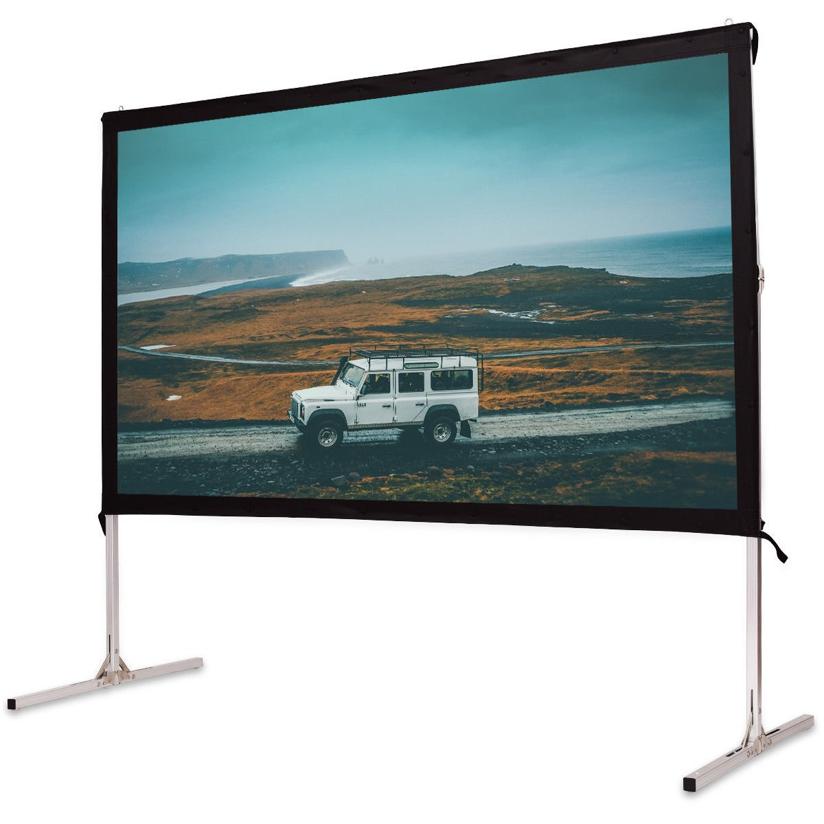 """Safstar Portable Outdoor Movie Theater Fast Folding Projector Screen with Stand Legs and Carry Bag (100"""" / 48"""" x 87"""")"""