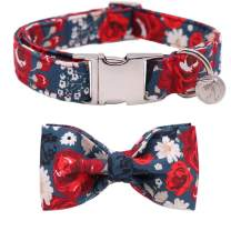DOGWONG Cotton Dog Collar with Bowtie for Small Medium Large Dogs Plaid Pet Collar Comfortable Dog Collar,Bowtie Dog Collar Adjustable XXS-XL