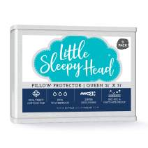 Little Sleepy Head Waterproof, Zippered Queen Pillow Protectors, Set of 2, Terry Cotton, 100% Hypoallergenic Pillow Covers Protect from Allergens, Bed Bugs, Dust Mites, Moisture - 2 Pack, (21x31).
