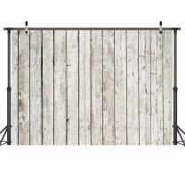 LYWYGG 8x6ft Photography Backdrop White Wood Backdrops for Photography Wood Floor Wall Background for Photographyers CP-22-0806
