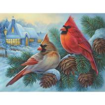 Bits and Pieces - 500 Piece Jigsaw Puzzle for Adults - Winter Cardinals - 500 pc Birds in The Winter Jigsaw by Artist Oleg Gavrilov