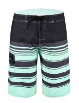 Unitop Men's Beachwear Striped Printed Fast Dry Surf Trunks with Side Pocket
