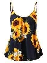 FENSACE Women's Sleeveless Summer Flowy Print Floral Spaghetti Strappy Tank Tops