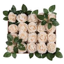 Meiliy 40pcs Artificial Flowers Peony Cream Rose Heads Real Looking Foam Peonies Bulk w/Stem for DIY Wedding Bouquets Boutonnieres Corsages Centerpieces Wreath Supplies Cake Flower Decorations