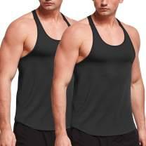 BALEAF Men's Muslce Workout Tank Tops Y-Back Gym Bodybuilding Training Sleeveless Shirts 2 Pack
