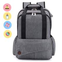 Bestobal Baby Diaper Bag Backpack for Mom Multifunctional Waterproof Travel Nappy Bags with Organizer Pouches Large Capacity Fashion Durable with Insulated Bottle Holder
