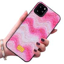 Case for iPhone 11 Pro Max 6.5 Inch,Aulzaju iPhone 11 Pro Max Slim Stylish Sparkle Wave Case Shiny Gradient Bling Beauty Shockproof Cover for Girls Women-Pink
