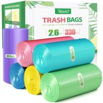 2.6 Gallon/330pcs Strong Trash Bags Colorful Clear Garbage Bags by Teivio, Bathroom Trash Can Bin Liners, Small Plastic Bags for home office kitchen,fit 10 Liter, 2,2.5,3 Gal, Multicolor