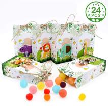 PartyTalk 24pcs Animal Party Favor Boxes Baby Shower Candy Boxes 3D Zoo Gift Bags for Woodland Wild One Birthday Jungle Safari Zoo Animals Party Decorations